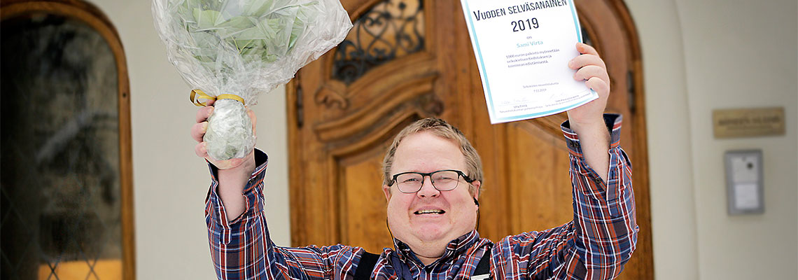 Sami Virta juhlii voittoa.
