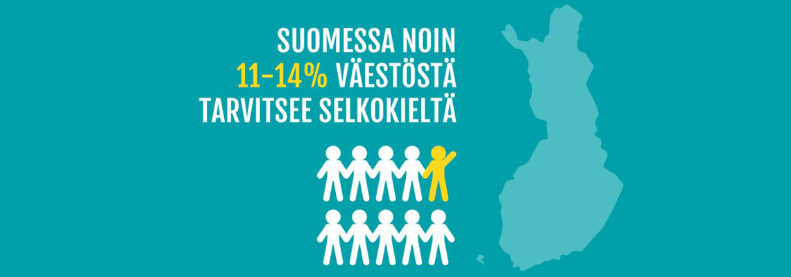 Suomessa noin 11-14 prosenttia väestöstä tarvitsee selkokieltä